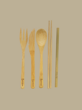 Load image into Gallery viewer, bamboo cutlery reusable zero waste dining