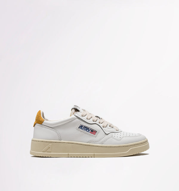 LOW leather white/yellow