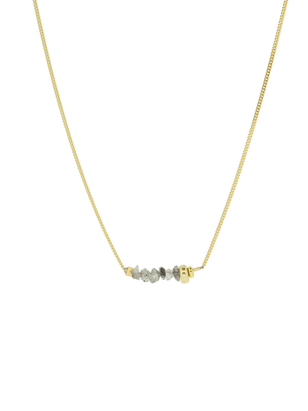 NIGHT FEVER - CLEAR QUARTZ golden necklace