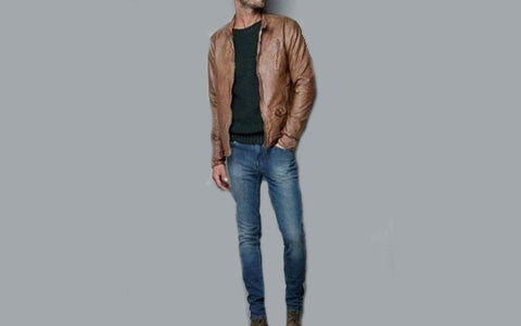 Leather -jacket -with -dark- blue -jeans: