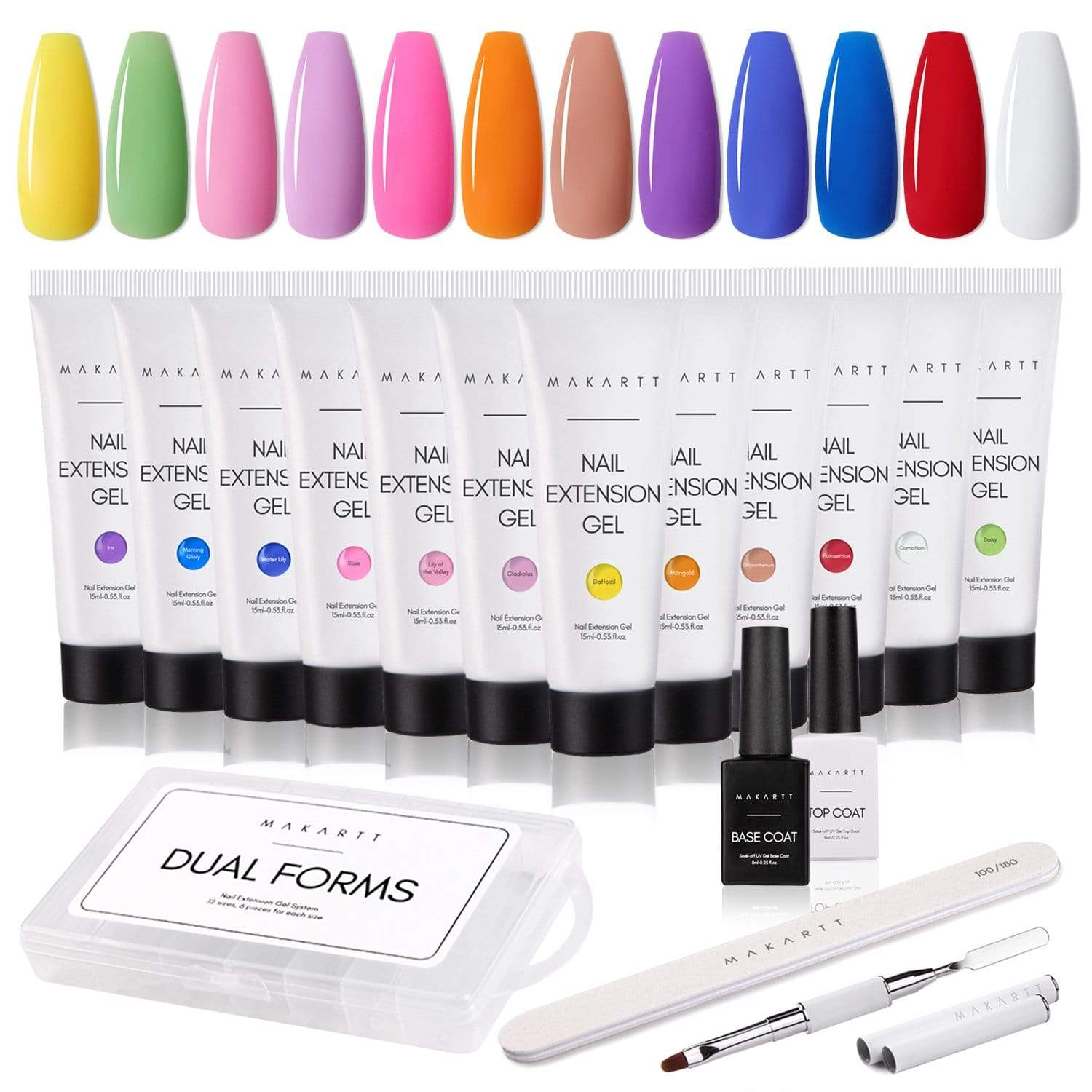 House of Florists 12 Color Poly Nail Extension Gel Kit - Makartt