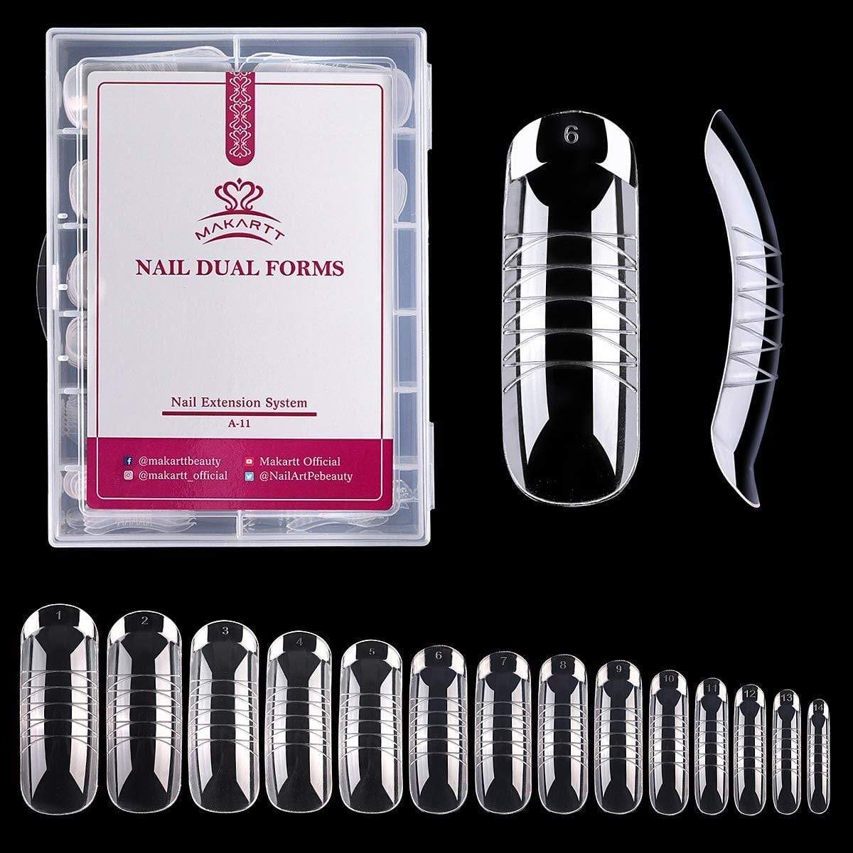 140 Pieces Poly Nail Extension Gel Dual Forms with Clear Plastic Case - Makartt