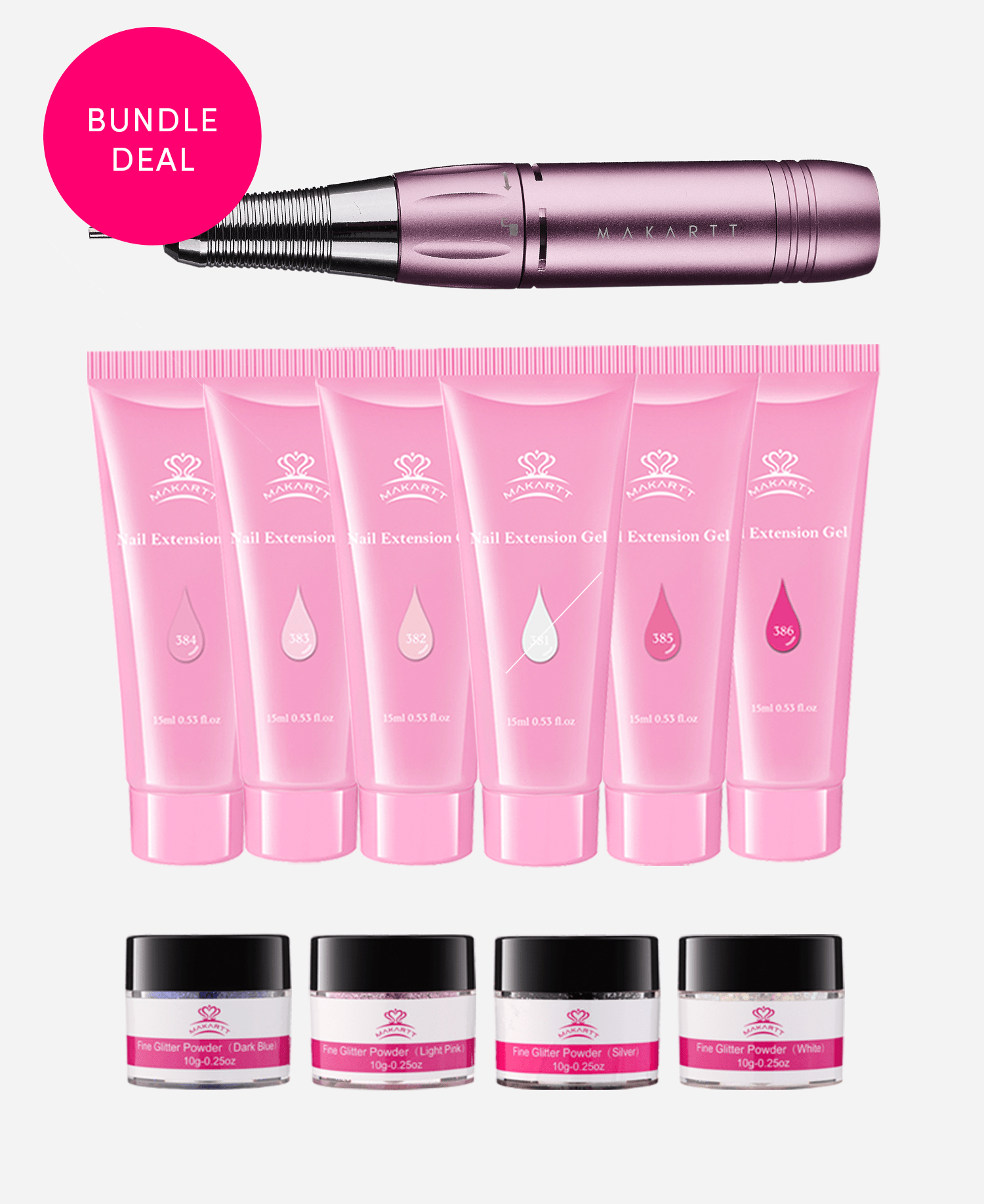 Pink & Bling Poly Gel Kit + Stefy Nail Drill Bundle