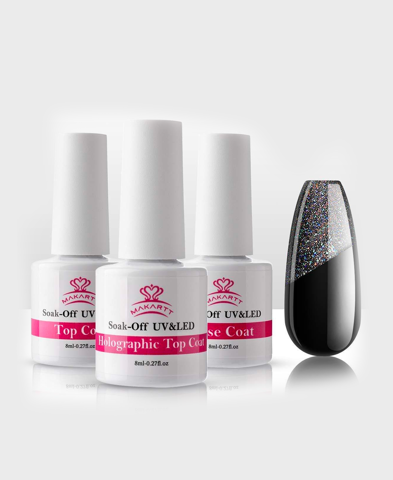 Holographic No Wipe Top Base Coat Set