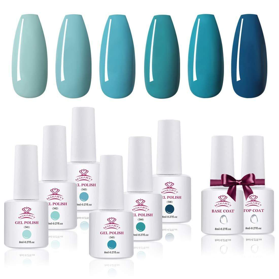6 Color Blue Turquois Gel Polish Set with Base and Top Coat - Makartt