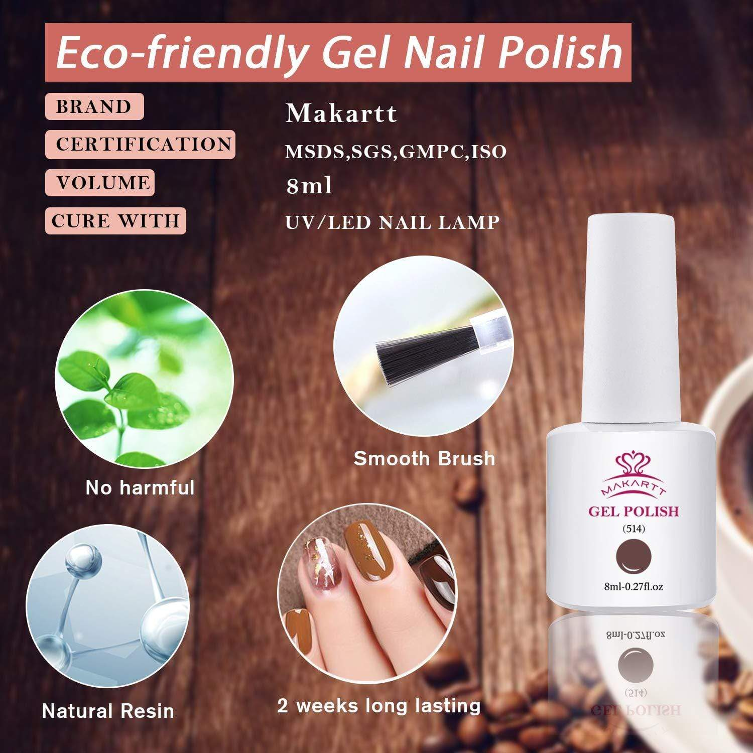 6 Color Classic Brown Gel Polish Set with Base and Top Coat - Makartt