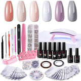 6 Color Rhinestones Gel Polish Deluxe Kit in Nude P-35 - Makartt