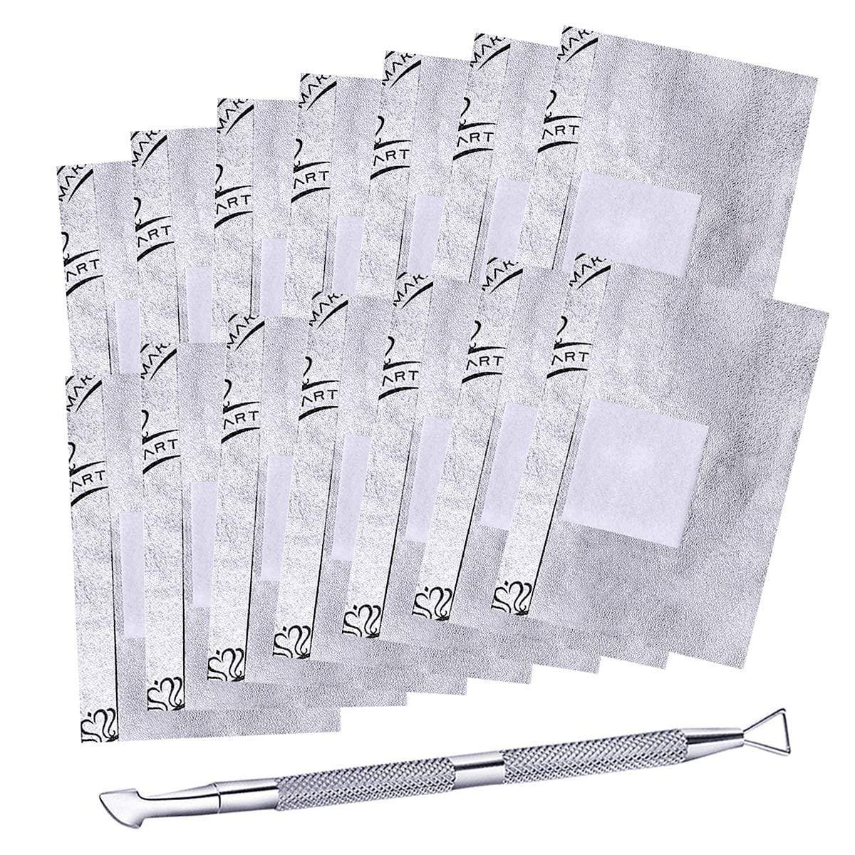 200 Pieces Soack Off Gel Remover Foil Wraps and Cuticle Pusher Set - Makartt