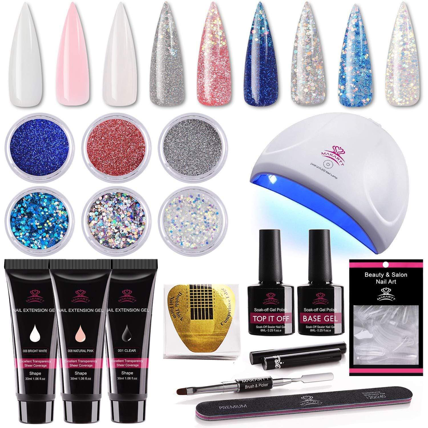 Deluxe Gorgeous Glitter Poly Nail Gel Extension Kit - Makartt