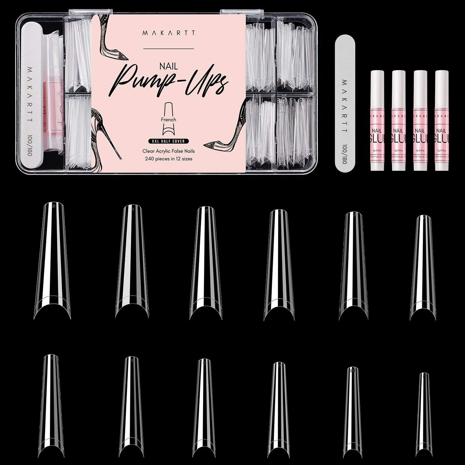 XXL Half Cover French Nail Tips Kit