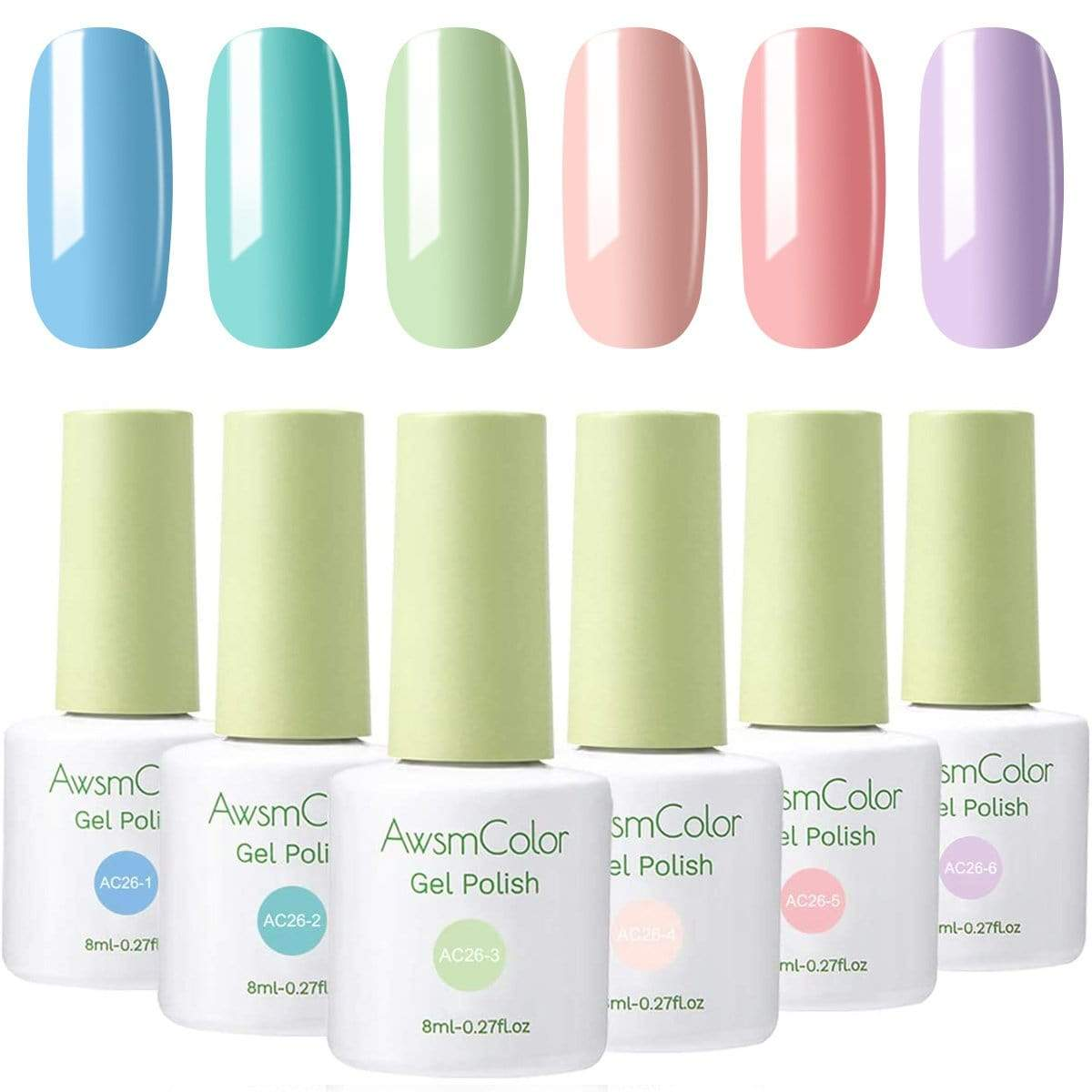 Vivacious Blue Peach Macaron Gel Nail Polish Set - Makartt