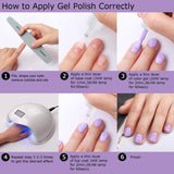 6 Color Pastel Summer Gel Polish Set with Base and Top Coat - Makartt