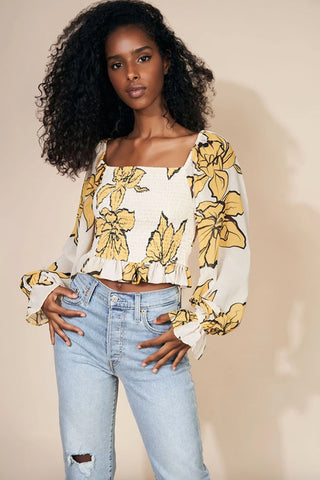 Somerset Top - Champagne Floral