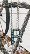 Load image into Gallery viewer, Initial Turquoise Stone Necklace