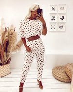 Load image into Gallery viewer, Lora White Polka Dot Co Ord Set