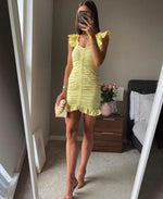 Load image into Gallery viewer, Amaro Yellow Mini Dress
