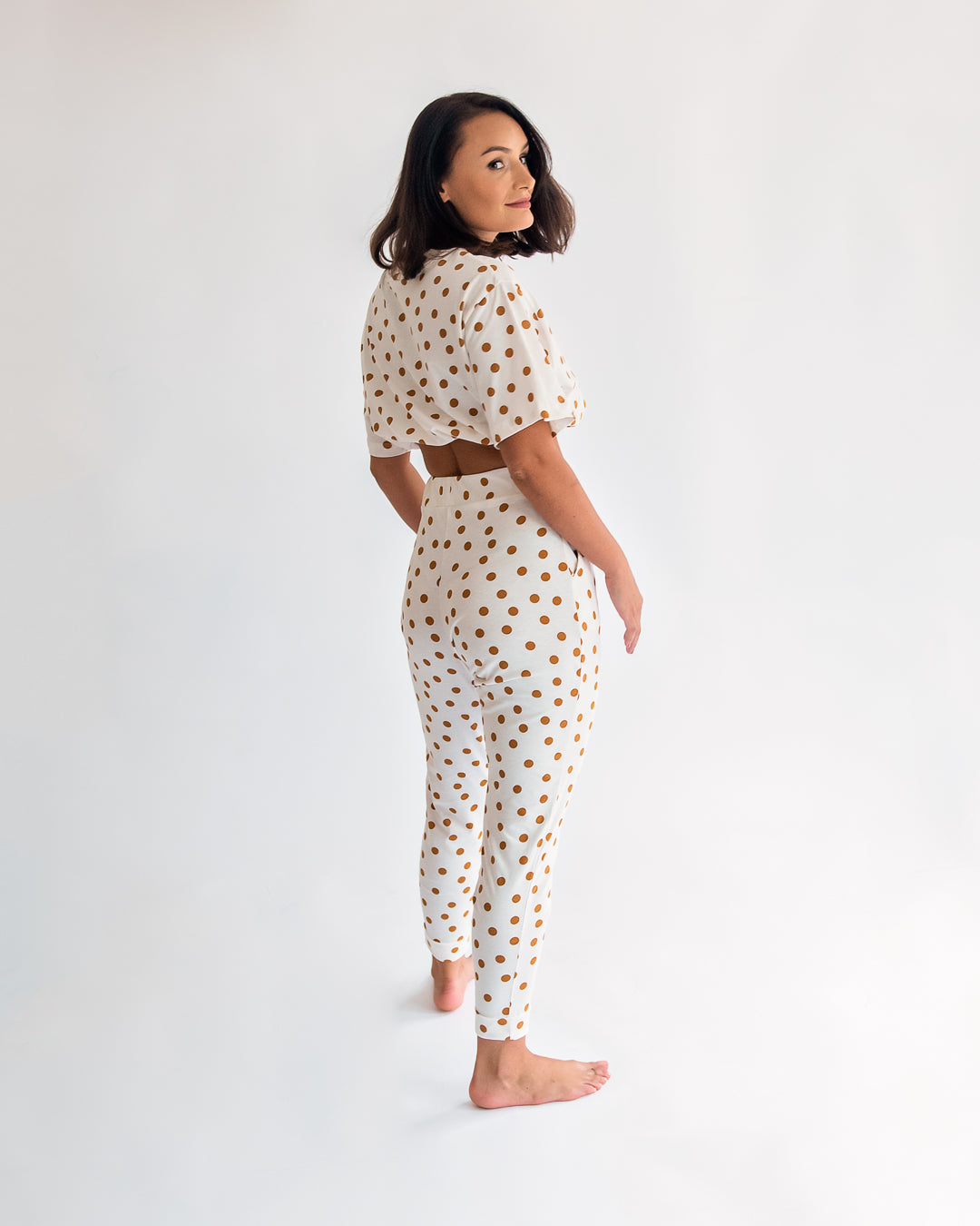 Lora White Polka Dot Co Ord Set
