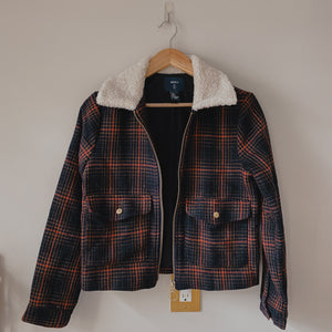 Plaid jacket with sherpa collar