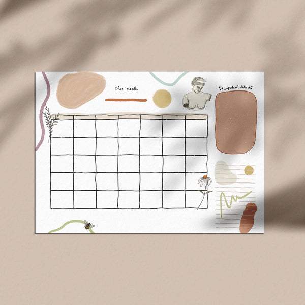 Aesthetic Monthly Calendar Printable