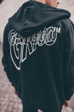 Double Logo ZIPPED HOODIE BLACK
