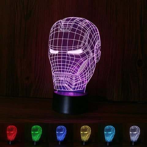 Ironman 3D illusion night light for kids,touch remote control desk lamp
