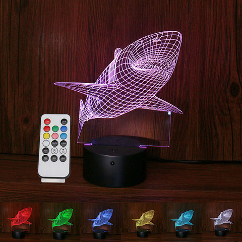 Shark 3D illusion night light 1