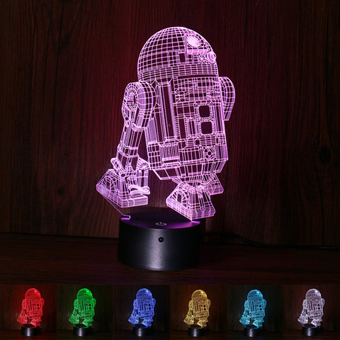 Star war force awaken R2-D2 3D Illusion desk night light 1