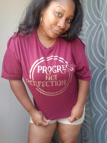 Progress Not Perfection Shirt - Maroon - Simply Made by Shay