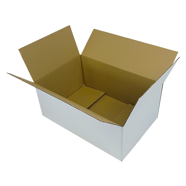 White Single Wall Cardboard Boxes - 525mm x 350mm x 210mm