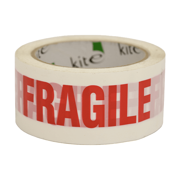 White & Red Fragile Packing Warning Tape - 48mm x 66m