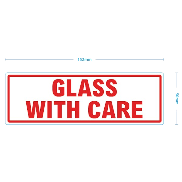 White & Red Glass With Care Warning Labels - 152mm x 50mm - Pack Of 1