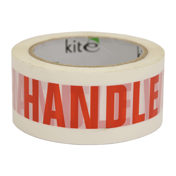 White & Red Handle With Care Packing Warning Tape - 48mm x 66m