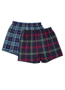 Mens 2Pack Woven Plaid Boxers Button Fly