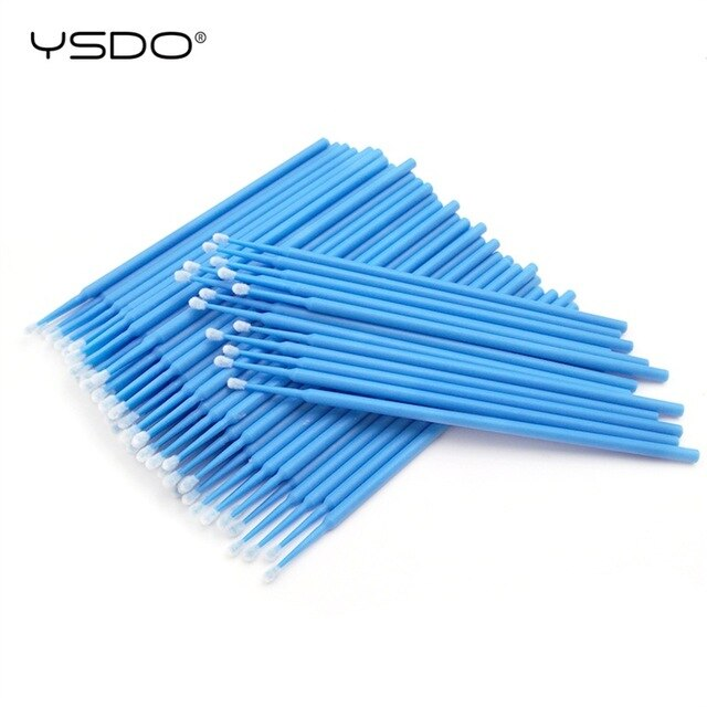 Purple 100 PCS Disposable Cotton Swab Eyelash Extension Tools Mascara Applicator Brush lashes extension makeup applicator remove tool