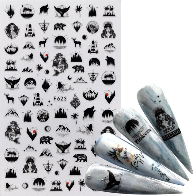 F607(WBZ) 1 PC Comic Adhesive 3D Nail Sticker Foil Decals For Nails Sticker Art Cartoon Nail Art Decorations Designs Tool