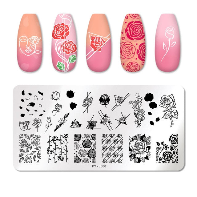 ColorPYJ041  PICT YOU Nail Stamping Plates Line Pictures Nail Art Plate Stainless Steel Design Stamp Template for Printing Stencil Tools