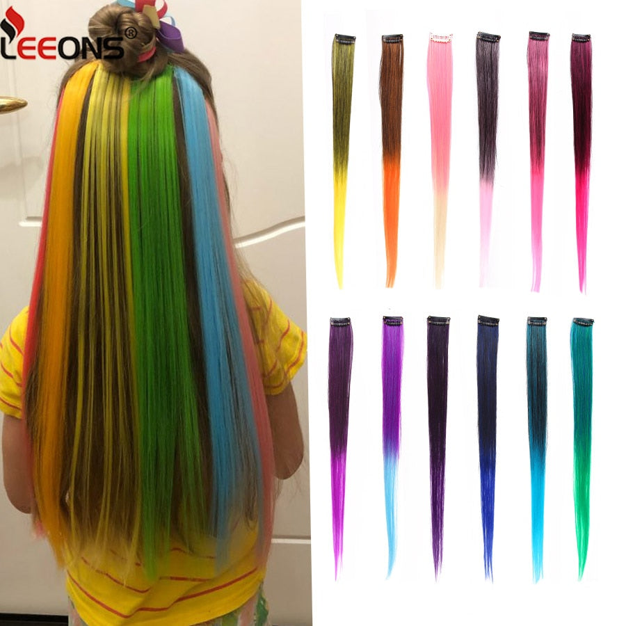 Ombre 18inch  Leeons Clip-In One Piece For Hair Extensions Pure Color Straight Long Synthetic Hair Fake Hair Pieces Clip In 2 Tone Hair