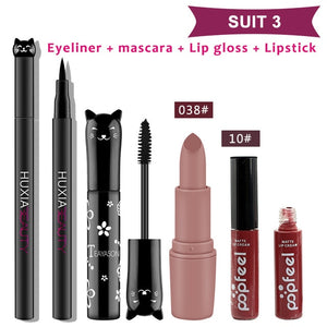 4pcs/set Cat Makeup Sets Including Lipstick, Eyeliner,Mascara, Eyeshadow, Makeup Kit Women Cosmetics Bag for Gifts