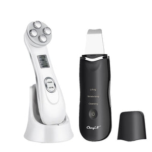 Black Ultrasonic Face Cleaning Skin Scrubber Facial Cleansing Peeling Machine Pore Cleaner + RF EMS LED Anti Aging Facial Massager 40