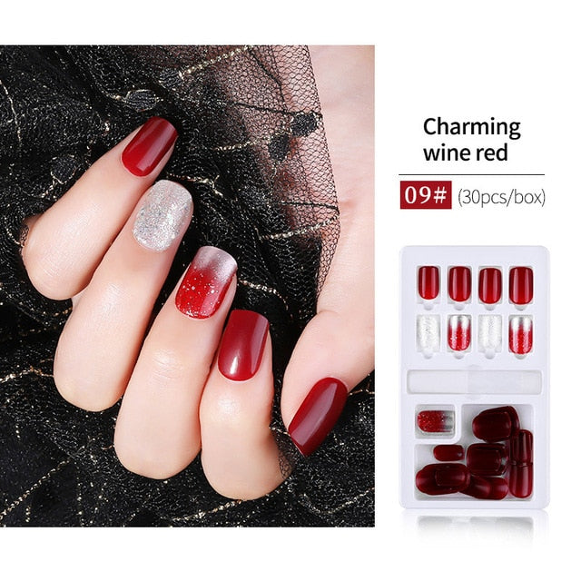 Color no.35 30pcs detachable False Nail Artificial Tips Set Full Cover for Short Decoration Press On Nails Art Fake Extension Tips With Glue