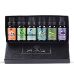 6pcs one kit Lagunamoon Pure Essential Oils 10ML 6pcs Gift Set Humidifier Aromatherapy Eucalyptus Papermint Lemongrass Orange Tea Tree Oil