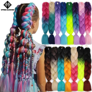 Blonde Pink Ombre Spring sunshine 24inch Jumbo Braids Long Strands  Crochet Braid Synthetic Braiding Hair Extensions for Woman