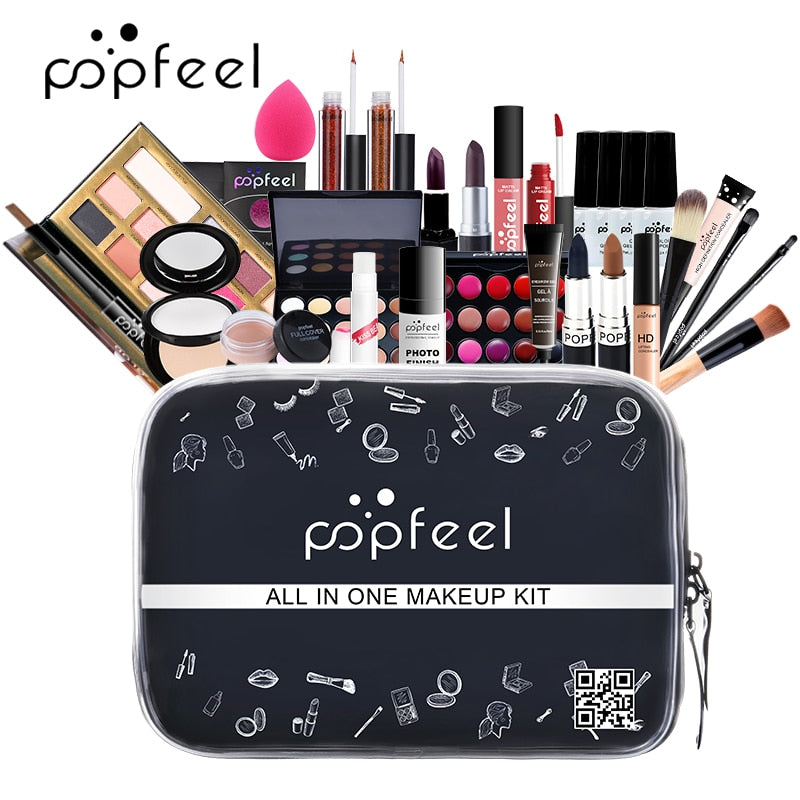 KIT004 POPFEEL Make up Set cosmetics kit(eyeshadow lipstick,eyebrow,BB cream,face powder,concealer,polish nail) 30 pcs in 1 set