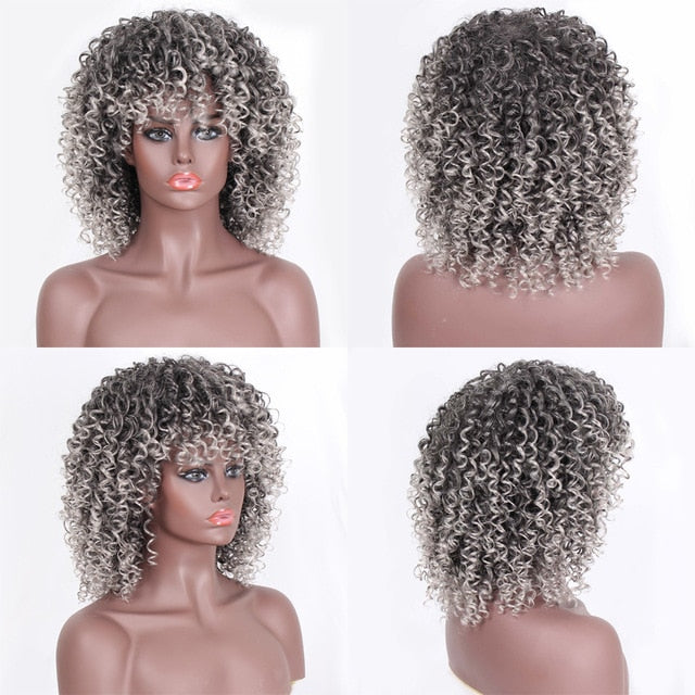 ColorT27-33  Stamped Glorious 14inches Afro Kinky Curly Wig Synthetic Short Wig With Bangs Mixed Brown and Blonde Wig for Black Women