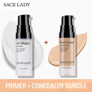 05Honey SACE LADY make up set 6ml Base Primer Full Cover Liquid Matte Concealer Makeup Face Corrector Waterproof Make Up Base Cosmetic