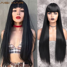 Black 30inch AISI HAIR Long Straight Black Wig Synthetic Wigs for Women Natural Middle Part Lace Wig Heat Resistant Fiber Natural Looking Wig