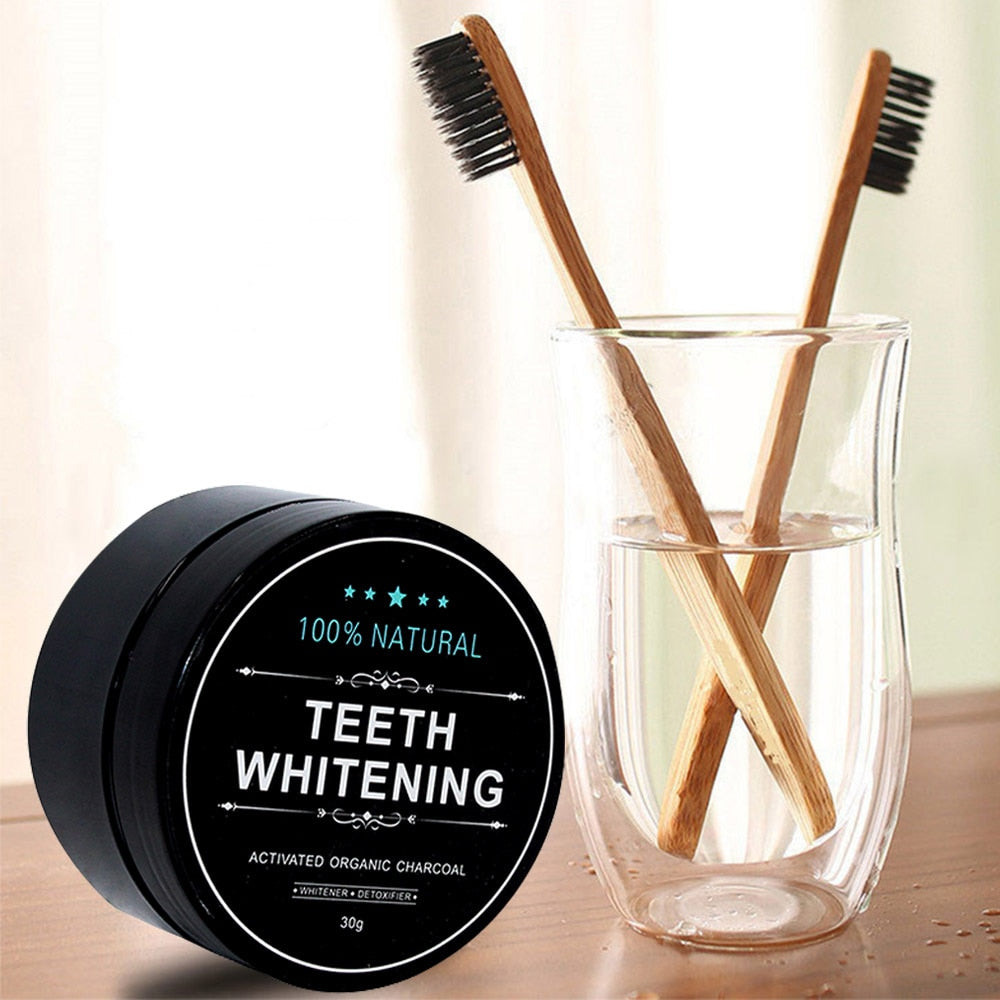 30g Natural Activated Charcoal Teeth Whitening Oral Care Tooth Brush and Tooth Powder
