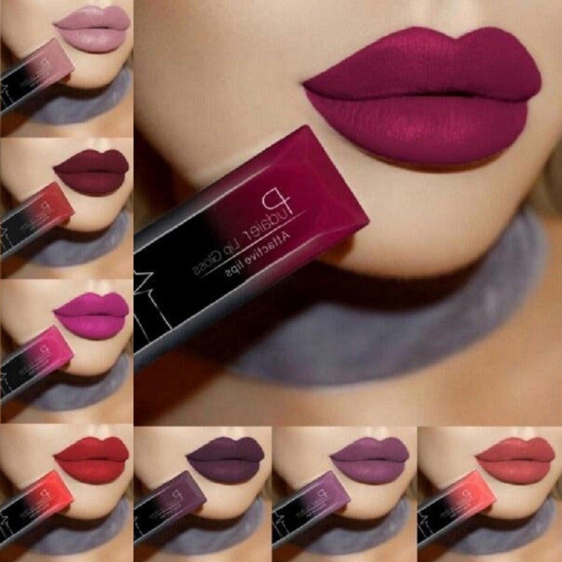 Color1 2019 Hot Waterproof Liquid Lip Gloss Metallic Matte Lipstick Cosmetic Sexy Batom Mate Lip Tint Makeup Lasting 24Hours Mate Levre