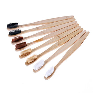 Beige 1pcs Toothbrush Natural Bamboo Handle Rainbow Whitening Soft Bristle Bamboo Toothbrush Eco-friendly Tooth Teeth Brush Oral Care