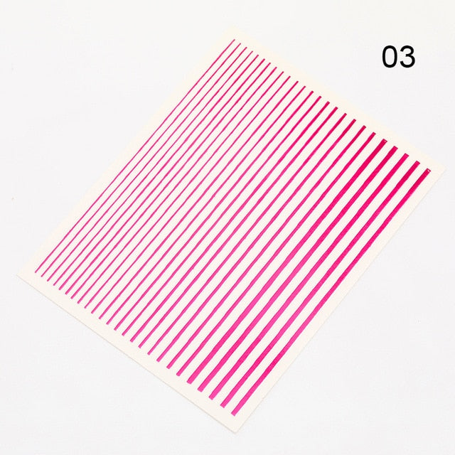Gold and Silver  3D Nail Sticker Curve Stripe Lines Nails Stickers Gradient Adhesive Striping Tape Nail Foil Nail Art Stickers Decals